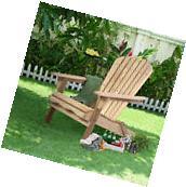 Waybackhome Foldable Fir Wood Adirondack Chair Patio Deck
