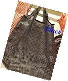 IKEA Foldable Pocket Reusable Black Shopping Tote Bag~