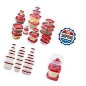 Food Storage Container Set 42 Piece Kitchen Snap Stack Lids BPA Free Plastic