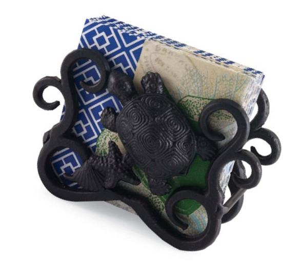 Forged Metal Sea Turtle Napkin Holder with Paper Napkins Mud