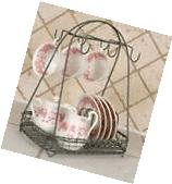 New French Country Rustic METAL PLATE CUP CADDY Dish Holder