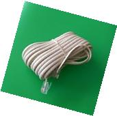 25' ft 6P4C RJ11 Telephone Extension Cord - IVORY