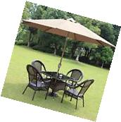 8' ft Patio Umbrella Aluminum Crank Tilt Table Market