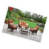 4 Pc Furniture Garden Set Patio Deck Outdoor Rattan Wicker