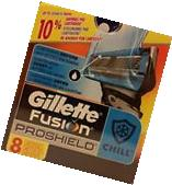 NEW GILLETTE FUSION PROSHIELD CHILL 8 CARTRIDGES 100%