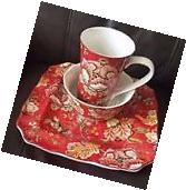 222 Fifth Gabrielle Red Paisley 12 PC Serving for 4