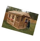 Large Wood Playhouse Kids Garden Wood Cottage Play House