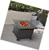 Outdoor Gas Fire Pit Table Backyard Patio Fireplace Propane
