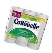 Cottonelle Gentle Care Aloe & Vitamin E Double Roll Toilet Paper 18 Rolls Clean