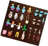 Gift of 16 generic minifigure diamond armor sword lot + 5