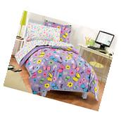 7-PC Girls Full Size Comforter Set Purple Butterfly Floral