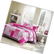 Girls Pink Paisley Floral Plaid Coverlet Quilt Set 4-PC Full