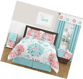 Sweet Jojo Girls Queen Full Size Flower Turquoise Coral