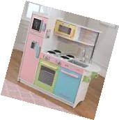 Girls Toy Wooden Play Kitchen For Kids Pastel Playroom