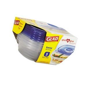 ** GladWare Entrée Container with Lid, 25 oz., Plastic,
