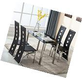 5 Piece Glass Dining Table Set 4 Leather Chairs Kitchen Room