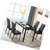 5 Piece Glass Metal Dining Table Furniture Set 4 Chairs