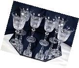 Crystal Glass Set of 6 Wine Champagne  Vintage  Cut 8 oz