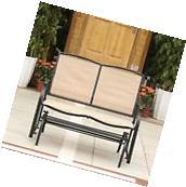 iKayaa Glider Bench Garden Outdoor Rocker Swing Chair Porch