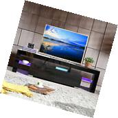 High Gloss Black TV Stand Unit Cabinet w/LED Shelves 2
