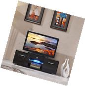 High Gloss TV Stand Unit Cabinet w/LED Shelves 2 Drawers