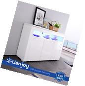High Gloss White LED Light Sideboard Cabinet Cupboard Buffet