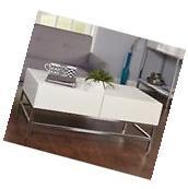High Gloss White Top Metal Base Coffee Table w Storage