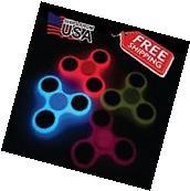 NEW Glow in the Dark Hand FIDGET Spinner Tri Fidget Focus