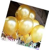 "AnnoDeel 100 pcs 10"" Latex Gold Balloons, Pure Pearl Helium"