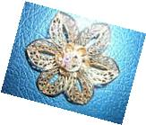 Gold Bow Flower PIN Daughters of Rebekah ODD FELLOWS vintage
