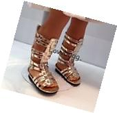 """Gold Gladiator Sandals Shoes for 18"""" American Girl Doll"""