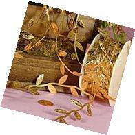"""Gold Leaf Ribbon, 1-1/4"""" X 10Yd"""