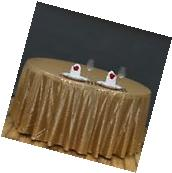 """90"""" Gold SEQUIN ROUND TABLECLOTH Wedding Party Catering"""