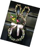 "Natural Grapevine Silk Flowers Easter Bunny 16"" Wreath Wall"