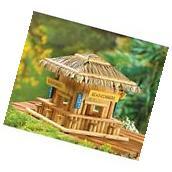 grass roof beach hut happy hour tiki bar wood fairy house