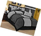 Gray Black Micro Suede Comforter Set Queen Size New 7 Piece