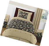 Green Brown Camouflage Kids Twin Size Bed Bedding Comforter