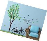 GREEN TREE BIKE Vinyl Wall Decal Sticker Art Mural Nursery