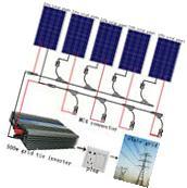 500W Grid Tie Solar System 5pcs 100W Solar Panel w/ Power