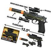 GUN WITH SILENCER PLAY SET TOY SWAT ASSAULT POLICE RIFLE