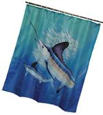 Guy Harvey Marlin Shower Curtain Nautical Ocean Bathroom
