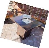Propane Fire Pit Table Heater Hammered Bronze Outdoor Patio