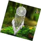 Handmade White Dream Catcher with Feathers Wall Car Hanging