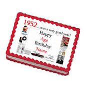 """Happy 65th Birthday  """"1952"""" Party Supplies PERSONALIZED CAKE"""