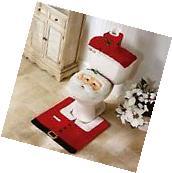 New 3 Pcs Happy Santa Toilet Seat Cover Rug Bathroom Set
