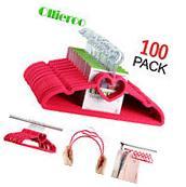 Ollieroo 100 Pack Heart  Flocked Non Slip Velvet Hangers
