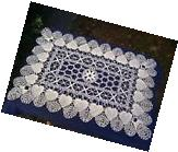"HEART Pattern WHITE CLUNY LACE DOILY or RUNNER 14"" x 20"