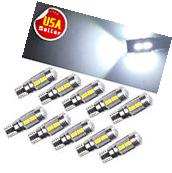 10x HID White Canbus T10 10-SMD Projector LED Backup Reverse