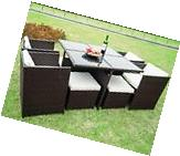 Merax 9PCS Outdoor Rattan Patio Furniture Set Sofa Chair