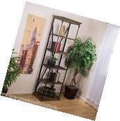 Home Office Furniture 5-Shelf Industrial Dark Khaki Wood